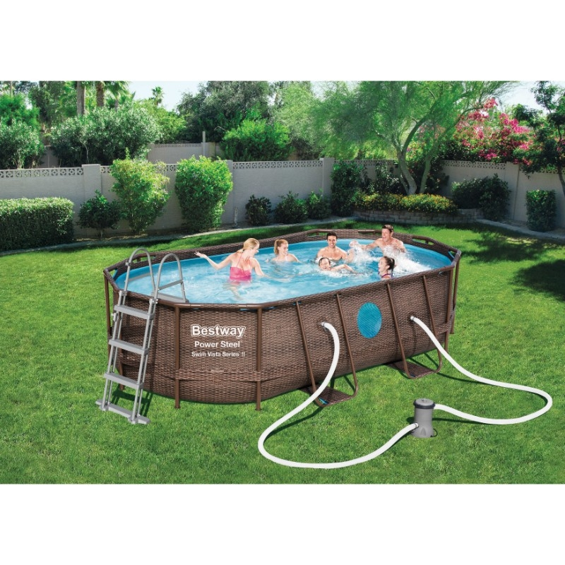 Bestway 14ft x 8ft 2 x 39.5in Power Steel Swim Vista Series Oval Pool Set