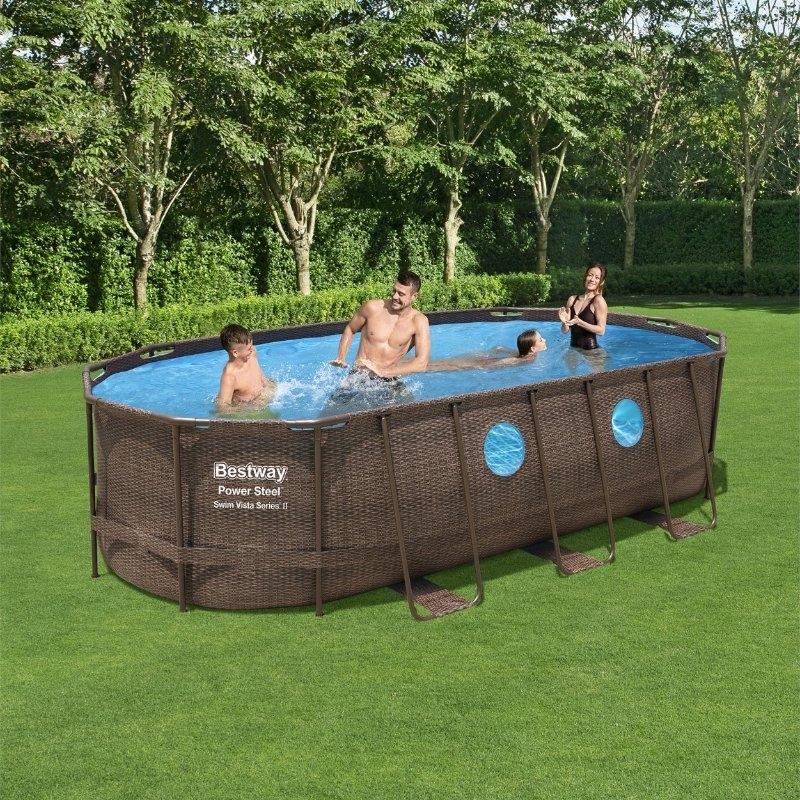Bestway 18ft x 9ft x 48in Power Steel Swim Vista Series Oval Pool Set