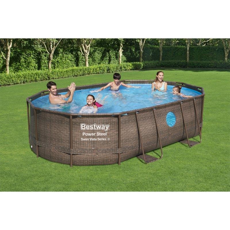 Bestway 16ft x 10ft x 42in Power Steel Swim Vista Series Oval Pool Set