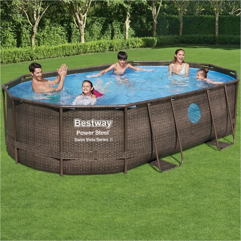Swimming Pools Bestway 16ft x 10ft x 42in Power Steel Swim Vista Series Oval Pool Set