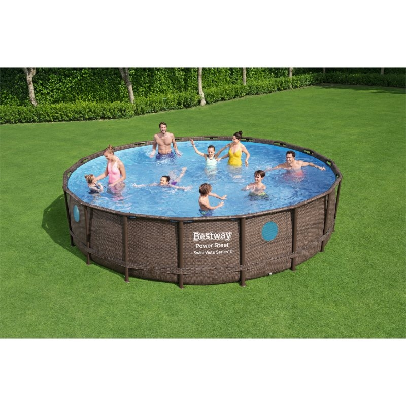 Bestway 18ft x 48in Power Steel Swim Vista Series Pool Set
