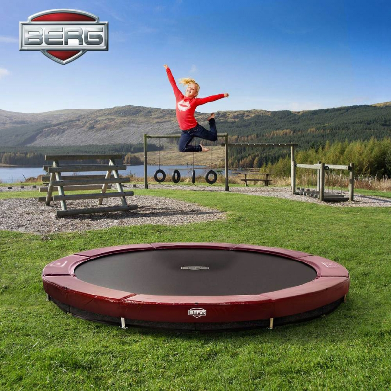 BERG Elite 11ft Red In-Ground Trampoline + Safety Net, All