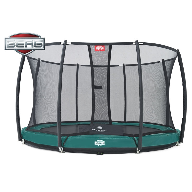 BERG Elite 12.5ft Green In-Ground Trampoline + Safety Net