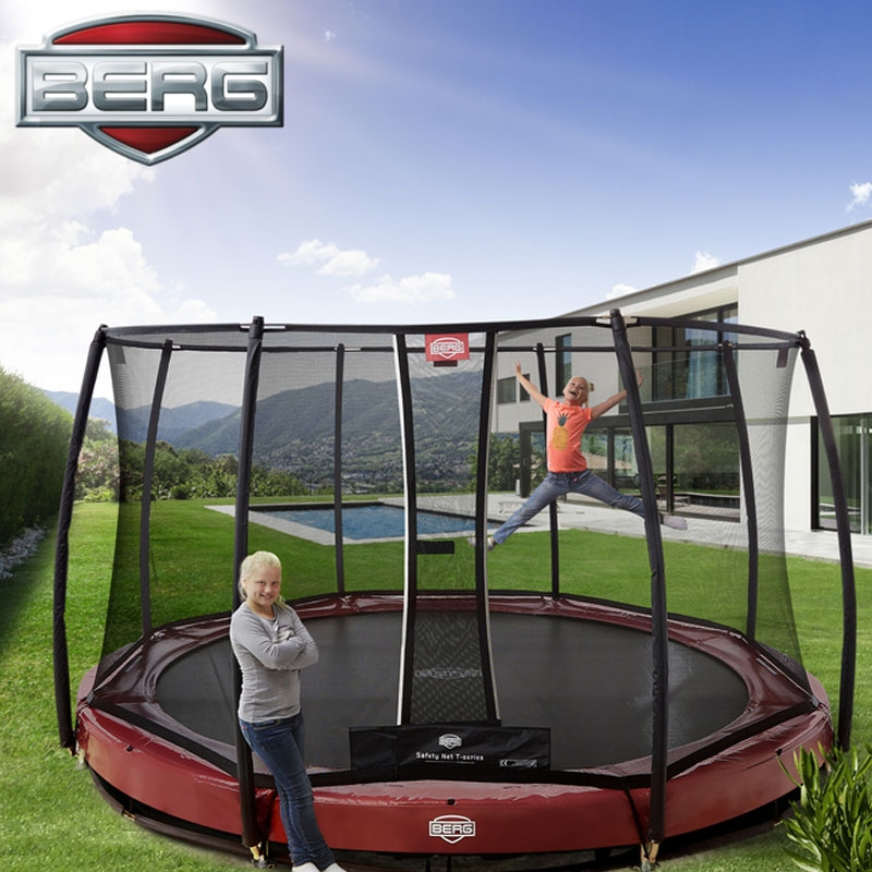 BERG Elite 14ft Red In-Ground Trampoline + Safety Net, All
