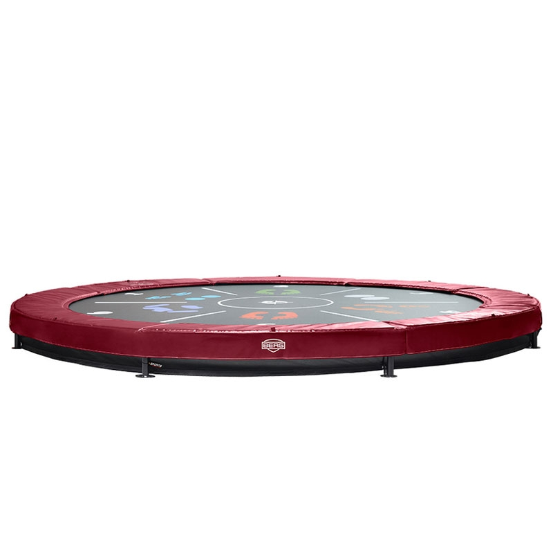Jumpsport Elite 14 Ft Powerbounce Trampoline With: BERG Elite 14ft Red Tattoo In-Ground Trampoline + Safety