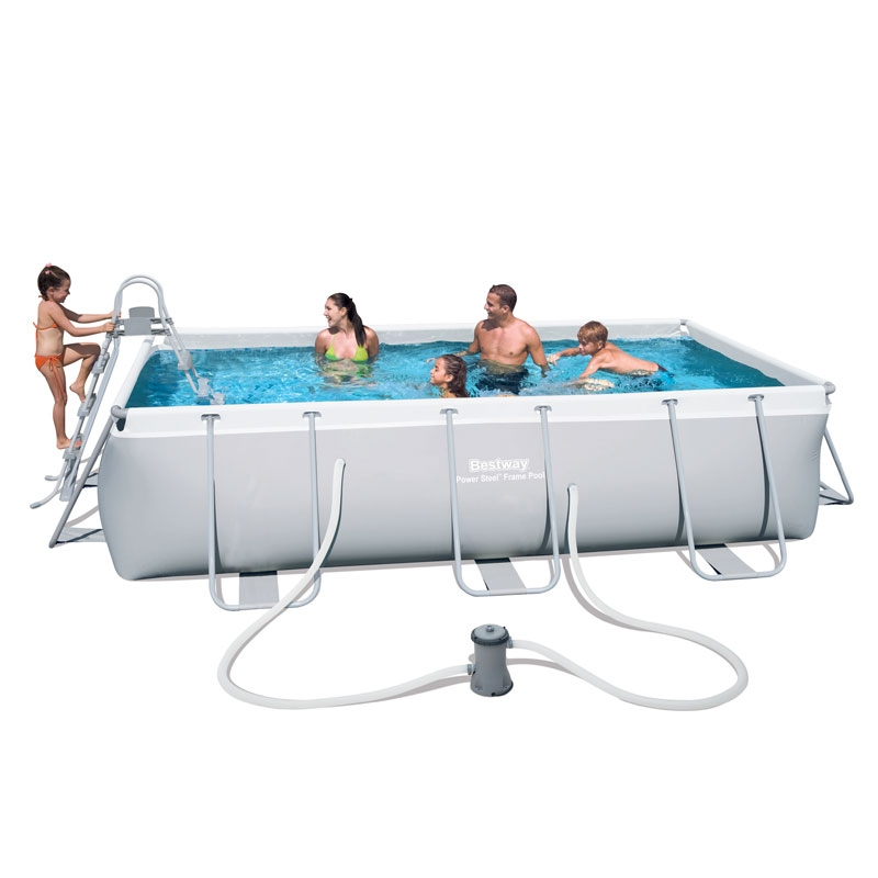 bestway 13.25ft power steel rectangular frame pool set (6,478l)
