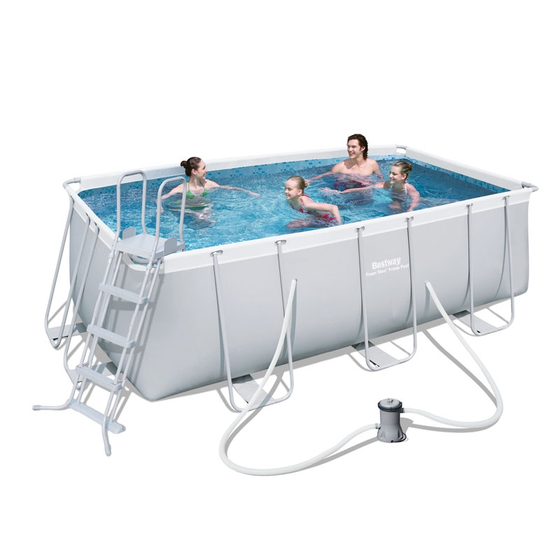 bestway 13.5ft power steel rectangular frame pool (8,124l)