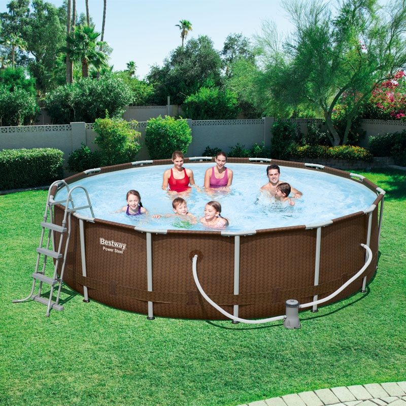 bestway 14ft rattan frame pool set