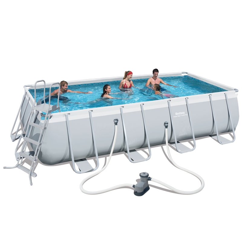 bestway 18ft power steel rectangular frame pool set (15,897l)