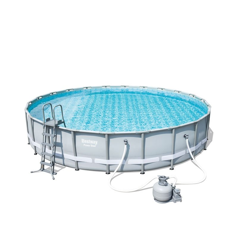 Bestway 22ft power steel frame pool set with sand filter - Bestway power steel frame pool ...