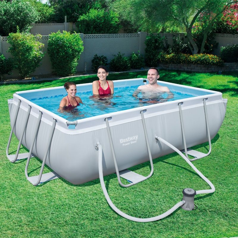 bestway 9.2ft x 6.4ft power steel rectangular frame pool set