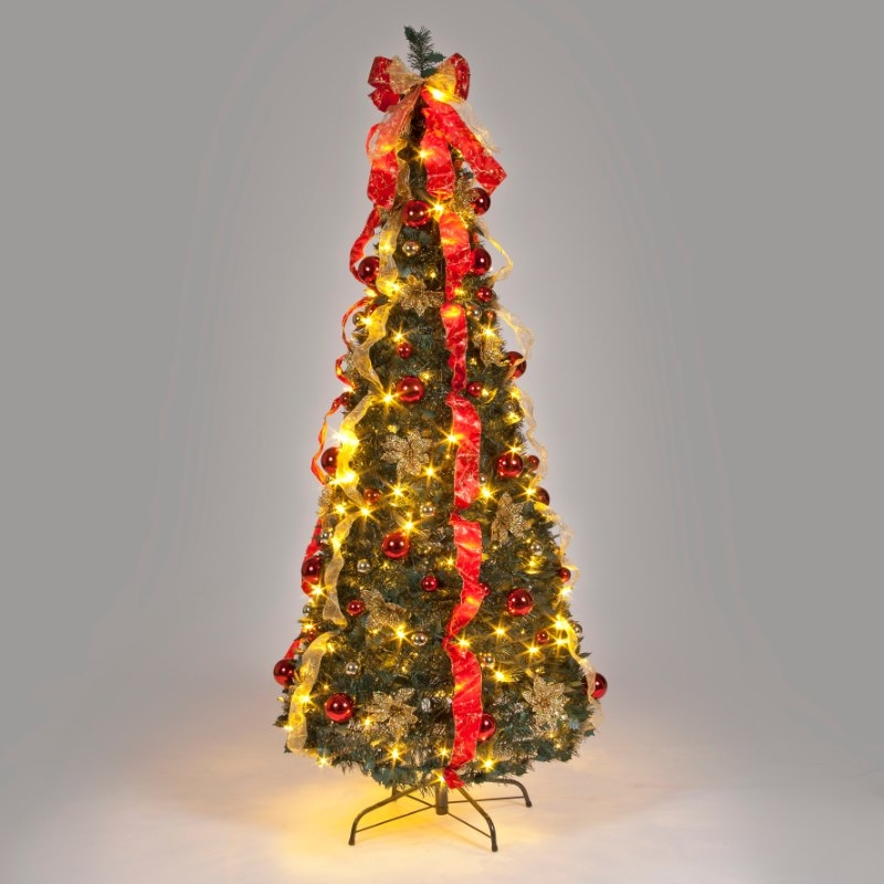6ft Red and Natural Pre-Decorated Pop-Up Christmas Tree with Warm White LEDs
