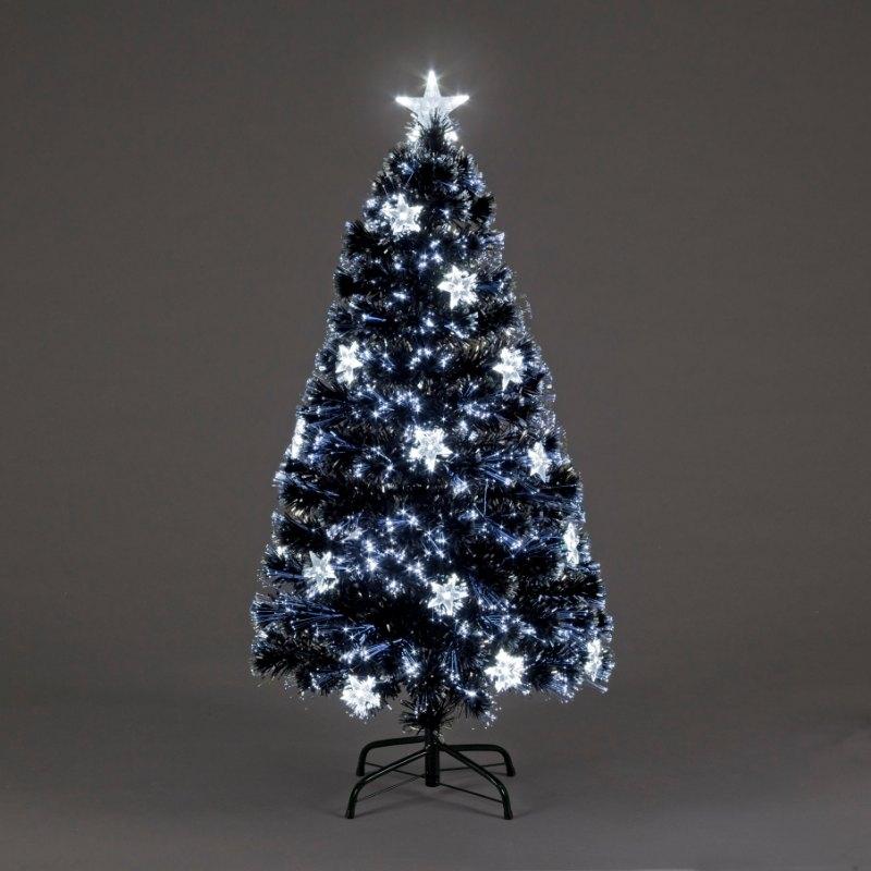 4ft Night Star Fibre Optic Christmas Tree with Ice White Stars