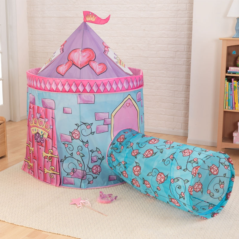 kidkraft castle tent with tunnel  pink