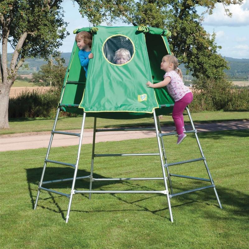 tp toys explorer climbing frame with platform and den