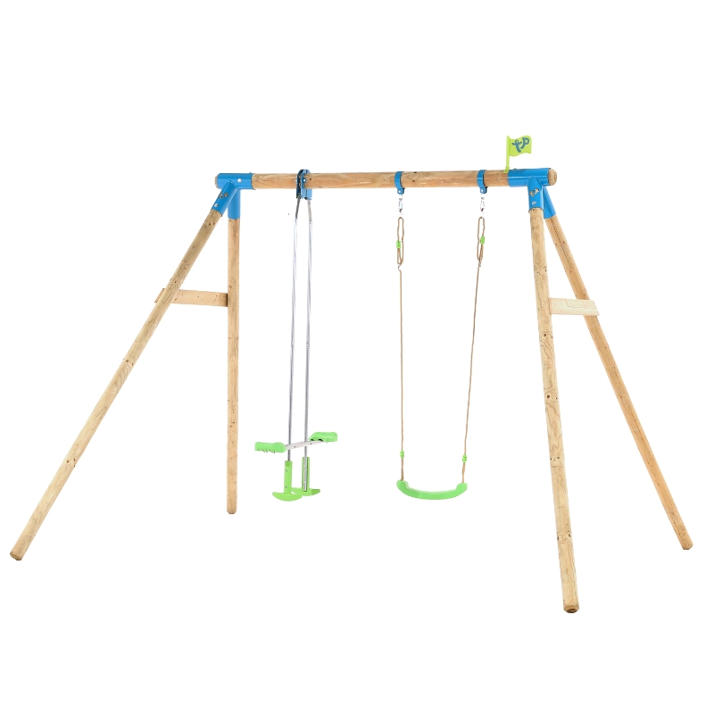 TP Toys Knightswood Wooden Double Swing and Glider Set
