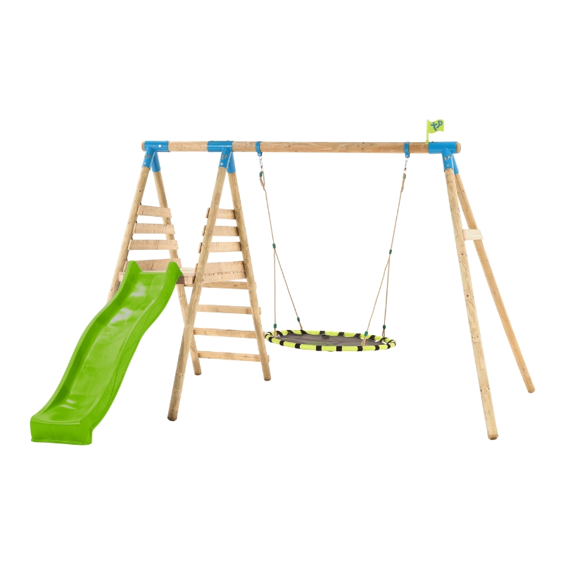 TP Toys Knightswood Wooden Nest Swing Set and Slide